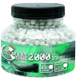 Guličky BB 6mm 0,20g 2000 ks biele Combat Zone
